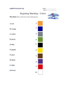 Beginning Matching- Colors Worksheet