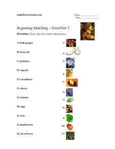 Beginning Matching-- Food Part 2 Worksheet