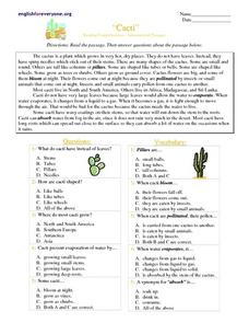 """Cacti""  Reading Comprehension-- Informational Passages Worksheet"