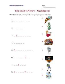 Spelling By Picture-- Occupations Worksheet