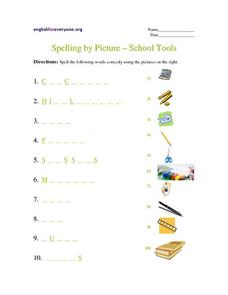 Spelling by Picture - School Tools Worksheet