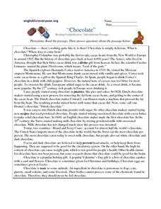 """Chocolate"" Reading Comprehension-- Informational Passages Worksheet"