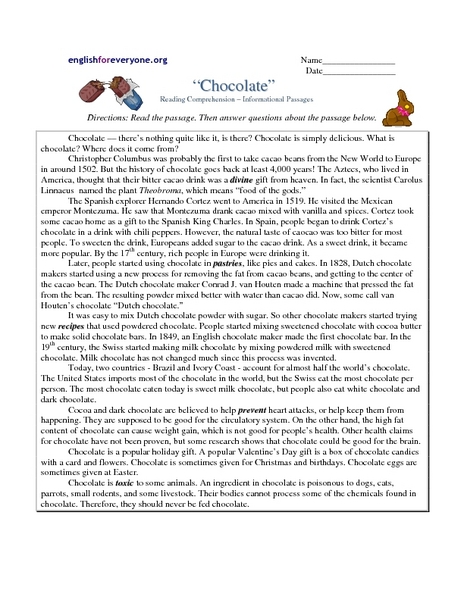 """""""Chocolate"""" Reading Prehension Informational Passages"""
