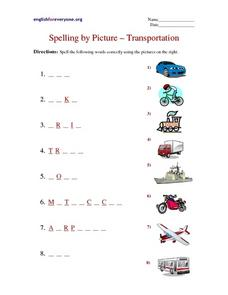 Spelling By Picture-- Transportation Worksheet