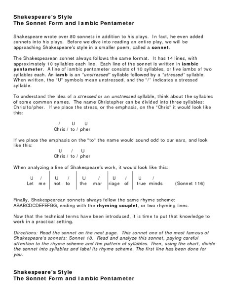 Iambic Pentameter Lesson Plans & Worksheets | Lesson Planet