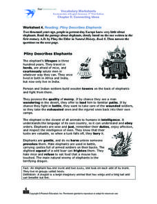 Worksheet 4. Reading: Pliny Describes Elephants Worksheet
