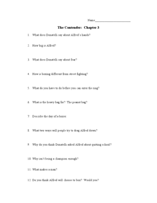 The Contender: Chapter 3 Worksheet