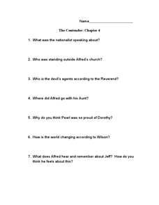 The Contender: Chapter 4 Worksheet