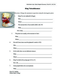 King Tutankhamun Worksheet