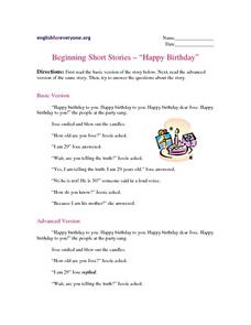 Beginning Short Stories -- Worksheet