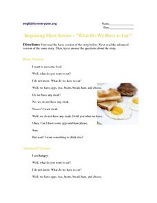 "Beginning Short Stories - ""What Do We Have to Eat?"" Worksheet"