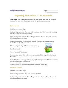 Beginning Short Stories w/ Questions - An Adventure Worksheet