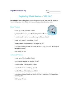 "Beginning Short Stories - ""Oh No!"" Worksheet"