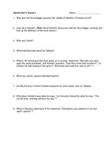 Hamlet Act V, Scene I Worksheet