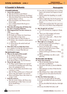 A Scandal in Bohemia Activity Worksheets Worksheet