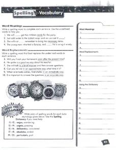 Spelling and Vocabulary Page 81 Worksheet