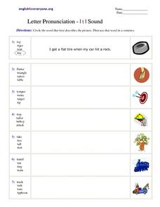 Letter Pronunciation - I t I Sound Worksheet
