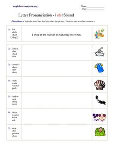 Letter Pronunciation - I sh I Sound Worksheet