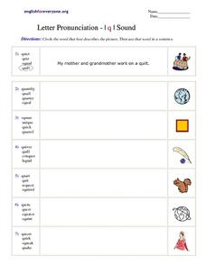 Letter Pronunciation - I q I Sound Worksheet