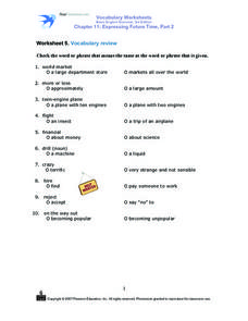 Vocabulary Review - Chapter 11 Worksheet
