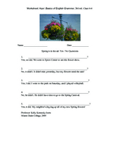 Spring is in the Air: Yes/No Questions Worksheet
