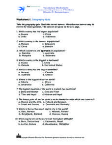 Worksheet 1: Geography Quiz Worksheet