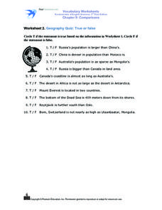 Worksheet 2: Geography Quiz: True or False Worksheet