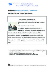 Reading Comprehension- Job Opening: Legal Assistant Worksheet