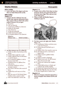 Charles Dickens Activity Worksheets Chapters 1-12 Worksheet