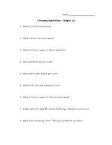 Touching Spirit Bear: Chapter 26 Lesson Plan