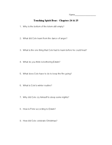 Touching Spirit Bear: Chapters 24 & 25 Lesson Plan