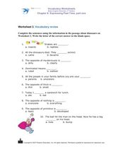 Worksheet 3. Vocabulary review Worksheet
