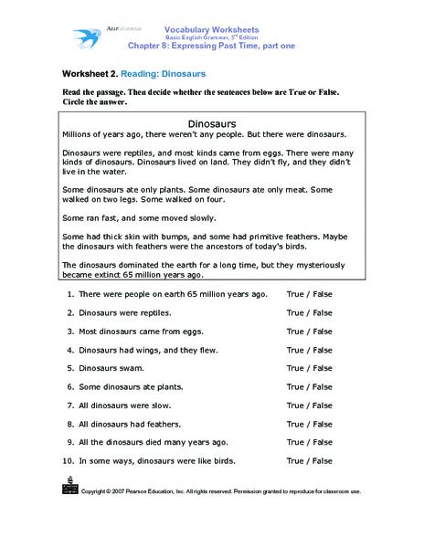 dinosaurs reading comprehension worksheet for 2nd 3rd