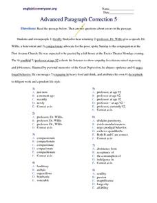 Advanced Paragraph Correction #5 Worksheet