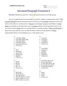 Advanced Paragraph Correction #6 Worksheet