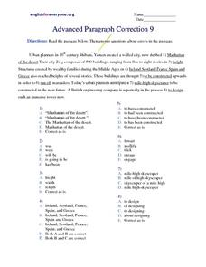 Advanced Paragraph Correction #9 Worksheet