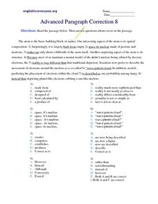 Advanced Paragraph Correction #8 Worksheet
