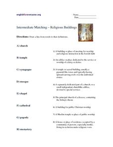 Intermediate Matching - Religious Buildings Worksheet