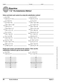 7.2 The Substitution Method Worksheet