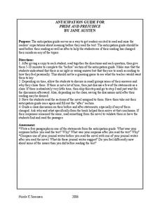 Pride And Prejudice: Anticipation Guide Worksheet