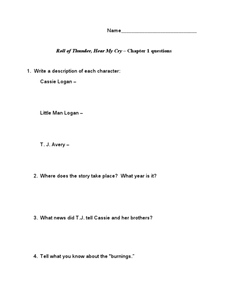 Roll of Thunder, Hear My Cry - Chapter 1 Questions Worksheet