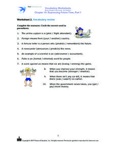 Worksheet 2. Vocabulary review Worksheet