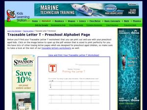 Traceable Letter T - Preschool Alphabet Page Worksheet