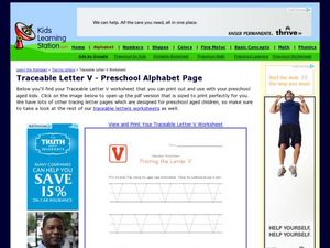 Traceable Letter V - Preschool Alphabet Page Worksheet