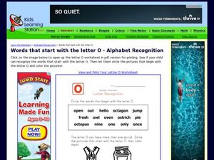 Words That Start With the Letter O- Alphabet Recognition Worksheet