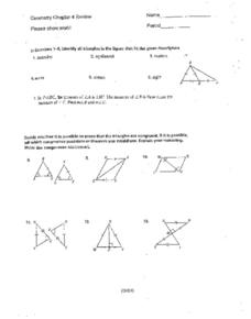 Geometry Chapter 4 Review (Triangles) Worksheet