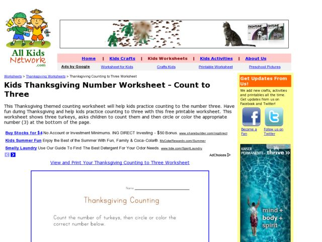 Thanksgiving Counting to Three Worksheet Worksheet