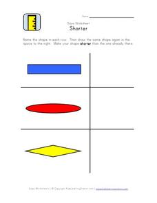 Sizes Worksheet-Shorter Worksheet