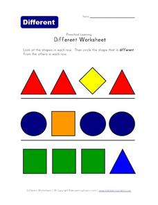 Different Worksheet: Preschool Learning Worksheet