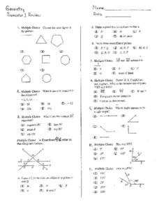 Semester One Review: Geometry Worksheet
